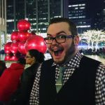 Me, in front of some joyous holiday balls.